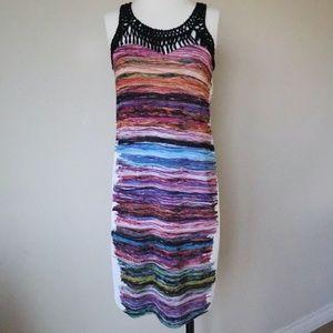 Cluny watercolor knit dress macrame straps size S